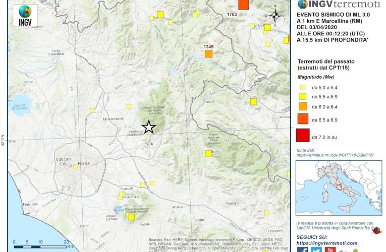 Evento sismico M3.0 in provincia di Roma il 3 aprile 2020 ore 2:12
