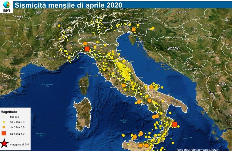 Le mappe mensili della sismicità, aprile 2020