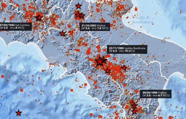 La carta della sismicità dal 1980 al 2020