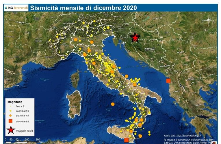 Le mappe mensili della sismicità, dicembre 2020