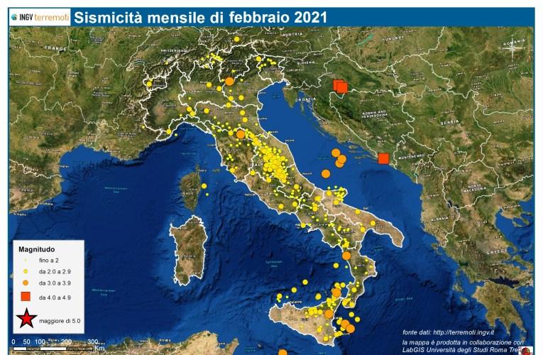 Le mappe mensili della sismicità, febbraio 2021