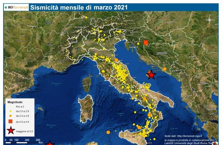 Le mappe mensili della sismicità, marzo 2021