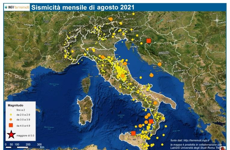 Le mappe mensili della sismicità, agosto 2021
