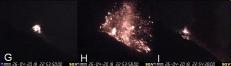 Esplosione maggiore del 26 aprile 2018. Frame significativi ripresi dalla telecamera dello spettro visibile di Quota 400. L'orario visualizzato nelle immagini corrisponde all'ora UTC (Coordinated Universal Time).