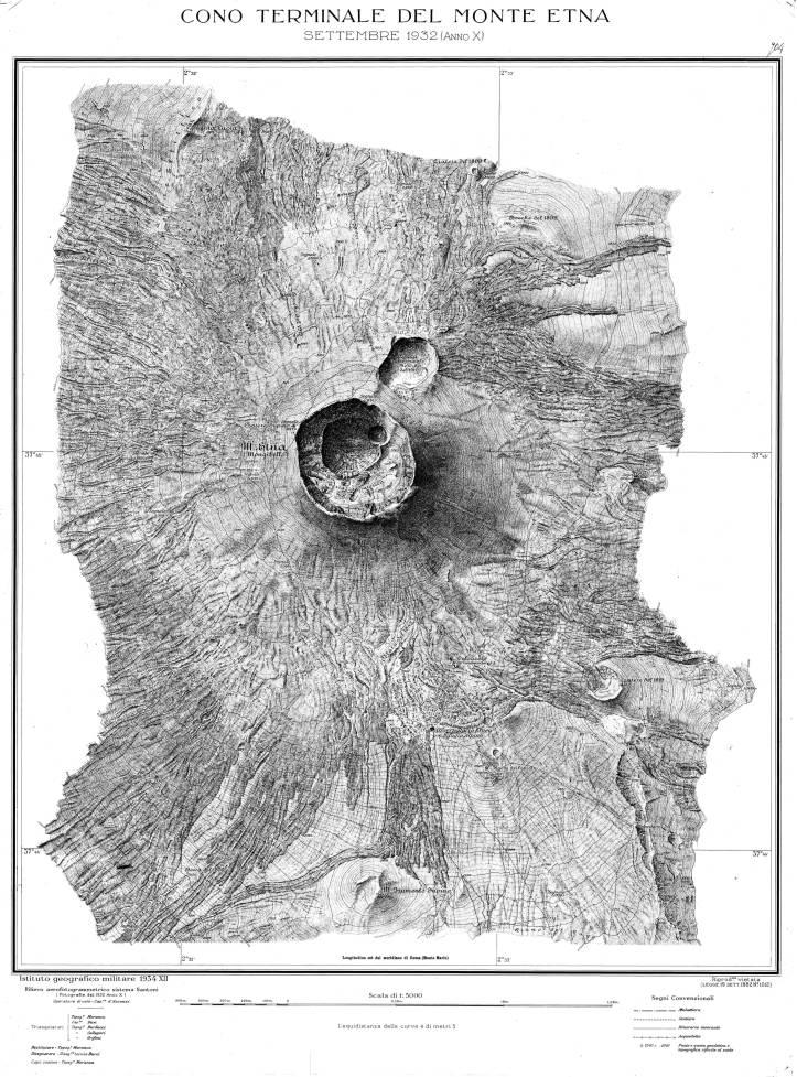 Carta Topografica della sommità del Monte Etna, 19321932