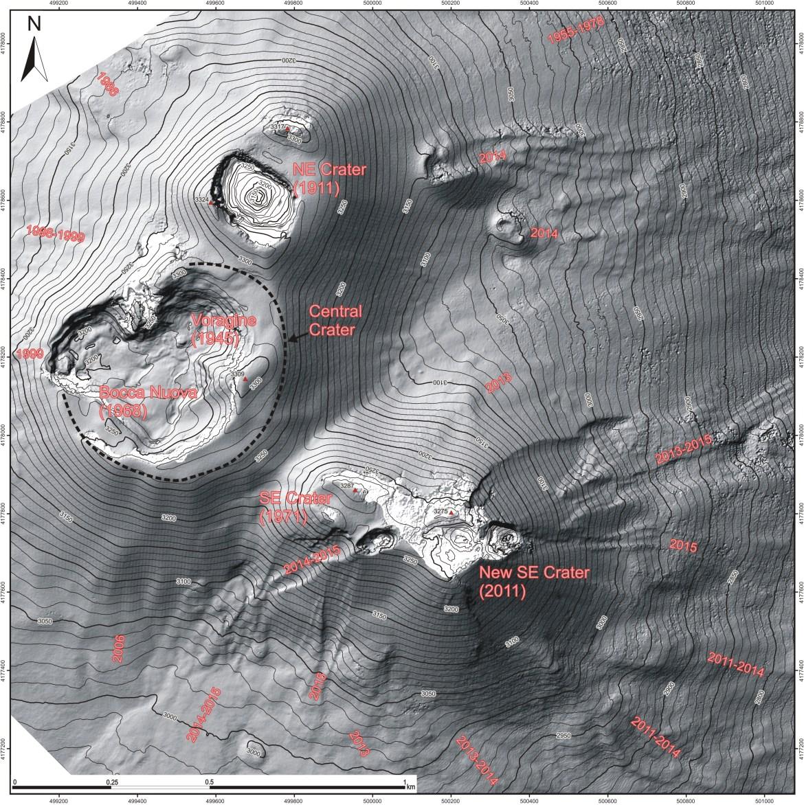 Mappa topografica dell'area sommitale dell'Etna, dicembre 2015