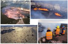 Attività di ricerca INGV all' Halema'uma'u nel febbraio 2018. In alto: a sinistra, il lago di lava, caratterizzato da una persistente circolazione delle placche; a destra, frequente attività di degassamento e frammentazione del magma (c.d. spattering). In basso: a sinistra, la zona intorno al cratere, ricoperta dai 'capelli di Pele', filamenti di vetro che si formano in seguito alla frammentazione del magma fluido; a destra, i vulcanologi dell'INGV a lavoro. Foto: Elisabetta Del Bello - Daniele Andronico.