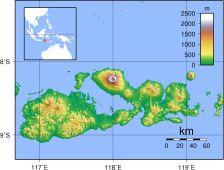 figura 3 - L'isola di Sumbawa, Indonesia. Il vulcano Tambora occupa la parte settentrionale, al centro dell'immagine.