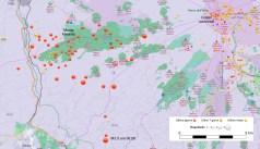 Figura 1. Mappa degli epicentri dello sciame sismico del 20 novembre 2018 nel versante occidentale dell'Etna. Fonte: sismoweb dell'Osservatorio Etneo, Catania http://sismoweb.ct.ingv.it/index.php