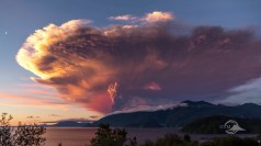 Figura 1 - Il vulcano cileno Calbuco in eruzione, nel 2015. Immagine tratta dal video Eruzioni vulcaniche - La pericolosità