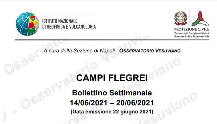 figura 5 - frontespizio del bollettino settimanale di sorveglianza vulcanica dei Campi Flegrei (14 - 20 giugno 2021)