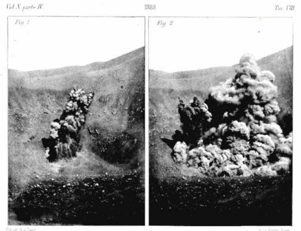 Figura 2 - Le due foto in alto mostrano le fasi iniziali di esplosioni Vulcaniane con vapori, ceneri e frammenti di magma, e sono state fotografate all'interno de La Fossa nel settembre 1889.