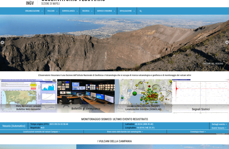 Il nuovo sito web dell'Osservatorio Vesuviano