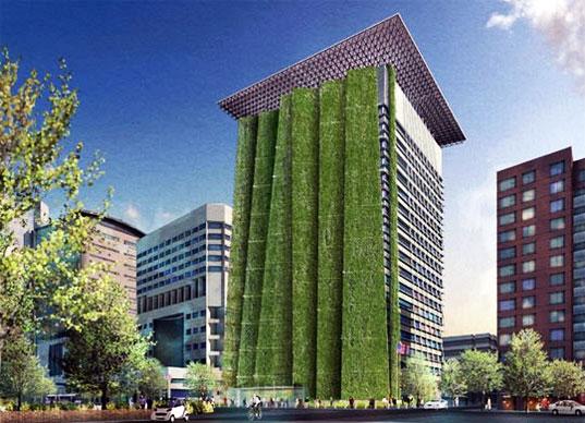 vertical garden skyscraper Portland to Get 250ft Vertical Garden With Vegetated Fins