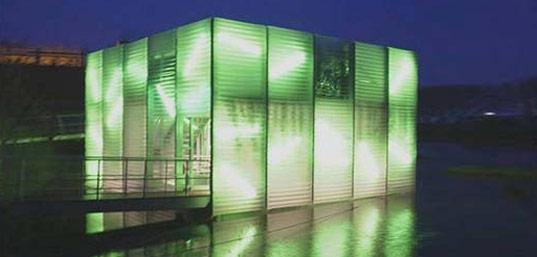 Waterstudio, Waterstudio.nl, Koen Olthius, amphibious house, houseboat, floating house, glowing floating house, floriade pavillion, Haarlem