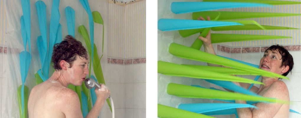 the spiky shower curtain will kick you