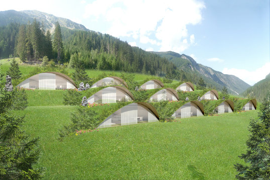 sustainable design, green design, matteo thun, green building,  underground building, eco hotel, energy efficient building, hillside  building