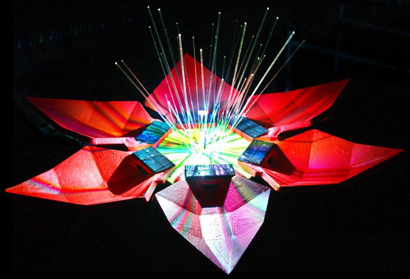 gul two, sustainable design, green design, solar power, energy generating flower sculpture, renewable energy, led light