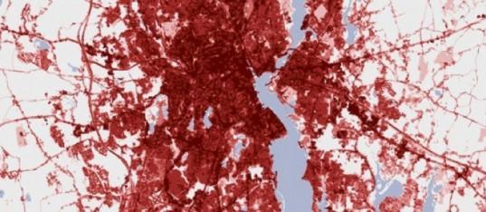 The Urban Heat Island Affect, Providence, Rhode Island, Nasa Images, global warming, green design, sustainable design, satellite image