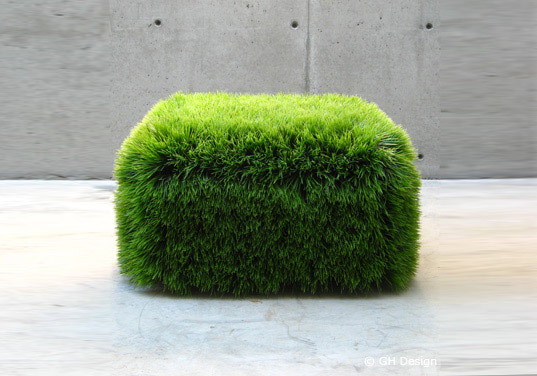 Nancy Favier, grass ottoman, green ottoman, grass furniture, living furniture, plant furniture, eco furniture, sustainable furniture, green products, grass chair, living chair, grass seat, living seat, gh design