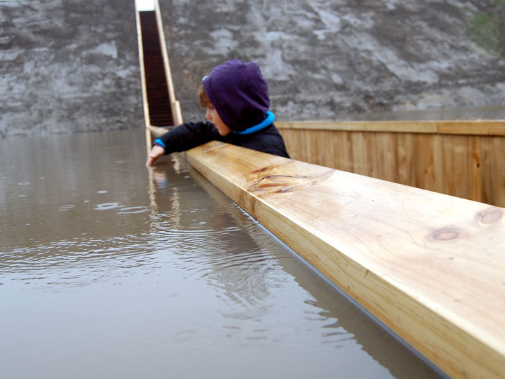 Near the surface of the water at the Moses Bridge