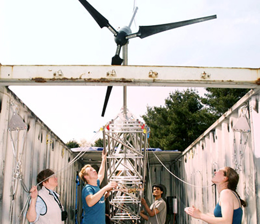 Princeton's shipping container disaster relief wind and solar power generators.