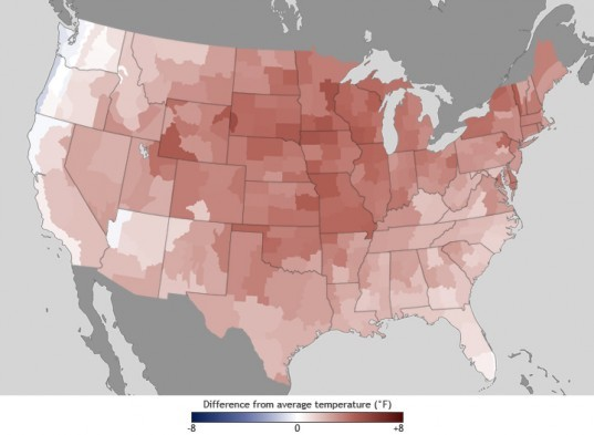 Temperature map, US map, USA temperatures, US temperature map 2012, NOAA