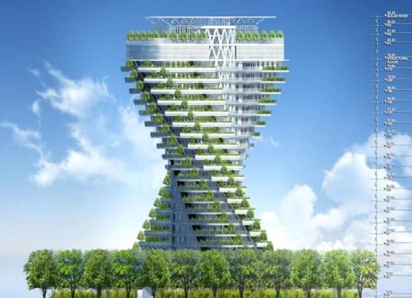 vertical garden skyscraper Agora Tower: Twisting Skyscraper Wrapped With Vertical