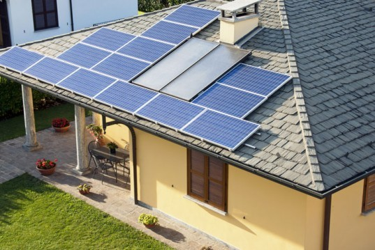 Roof-mounted solar panels, solar panels, solar power, solar energy, solar photovoltaic