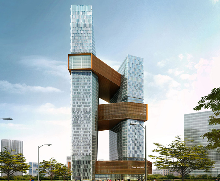 NBBJ Designs A Pair Of Interconnected Towers For Tencents