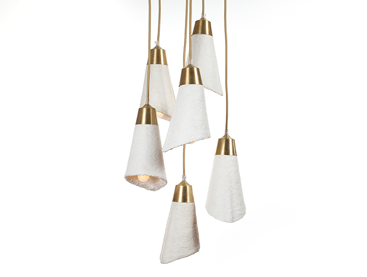 these elegant cascade pendant lights are actually made from mushrooms