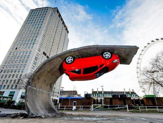 Gravity-defying car hangs upside down in London