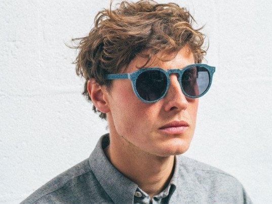 recycled materials, recycled denim, denim eye wear, denim waste, denim waste stream, mosevic, Solid Denim eyeglasses, Solid Denim Mosevic, recycled eyewear, ecouterre