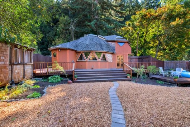 Geodesic Dome Home, wooden dome home, dome homes for sale, geodesic homes, geodesic home design, geodesic buildings, wooden homes, wooden homes for sale, sonoma county dome home, Russian River Valley dome homes, dome construction, building a round home, round homes, woodburning stoves, unique home designs,