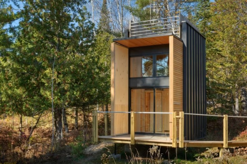 tiny home with wooden deck