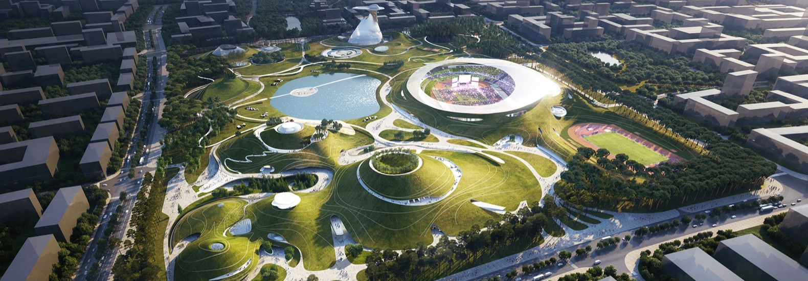 MAD Brings Surreal Sports Complex With Vast Green Roof To