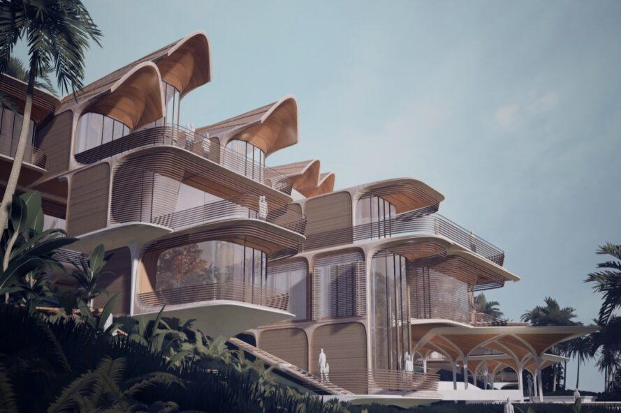 rendering of multi-story housing with curved roofs and enclosed balconies