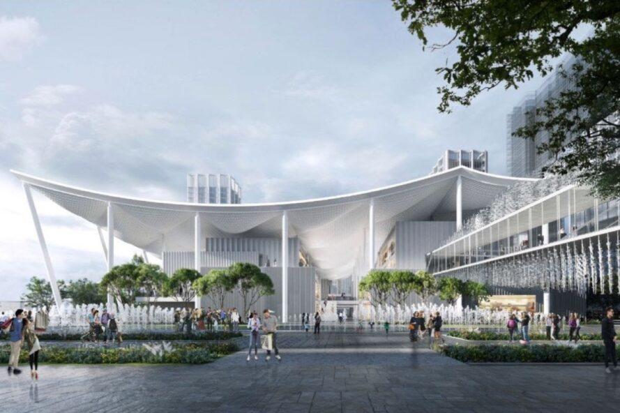 rendering of large white structure with curved roof