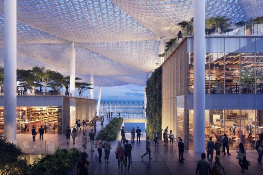 rendering of people walking around beneath canopies