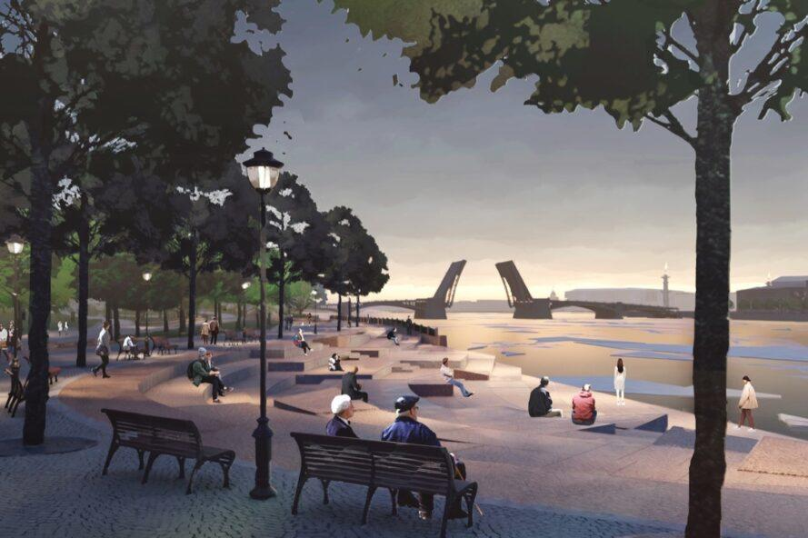rendering of people sitting on benches at waterfront park
