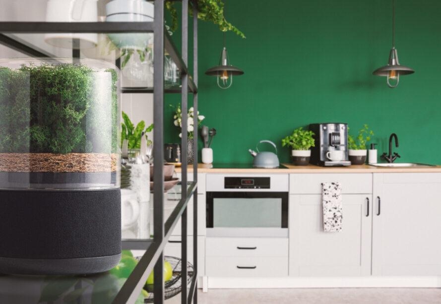 air purifier on metal shelf in a green kitchen