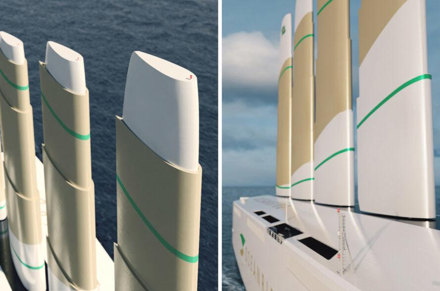 closeup rendering of tall sails of a ship
