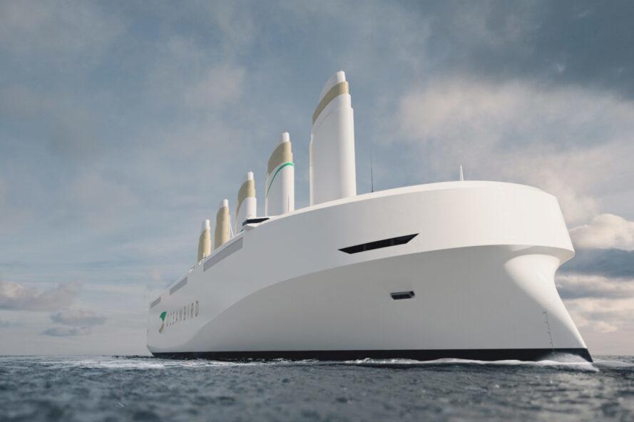 rendering of large white ship on ocean