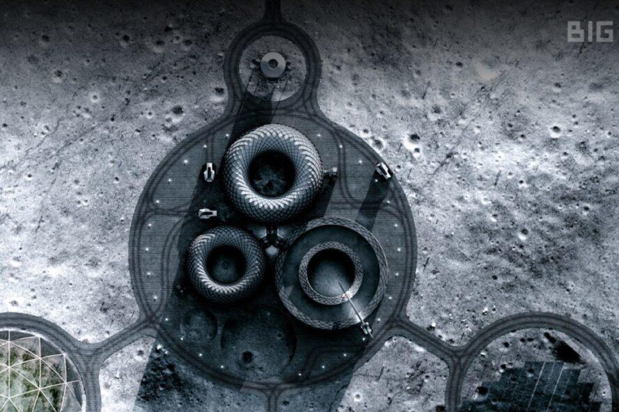 aerial rendering of 3D-printed shelters on the moon