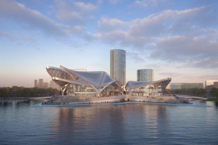 Rendering of sculptural metal building on water
