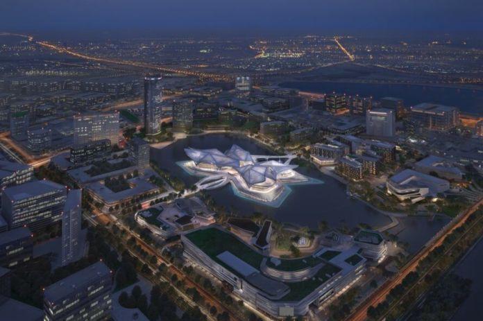 Aerial rendering of sculptural metal building on water