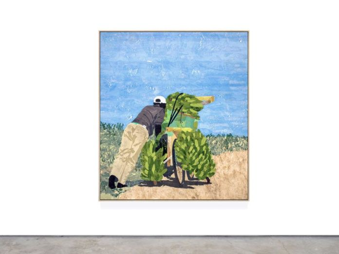 Art depicting person hauling bananas on a bike