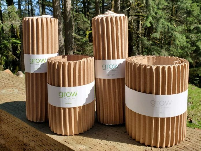 Grow Fragrance products packaged in cardboard