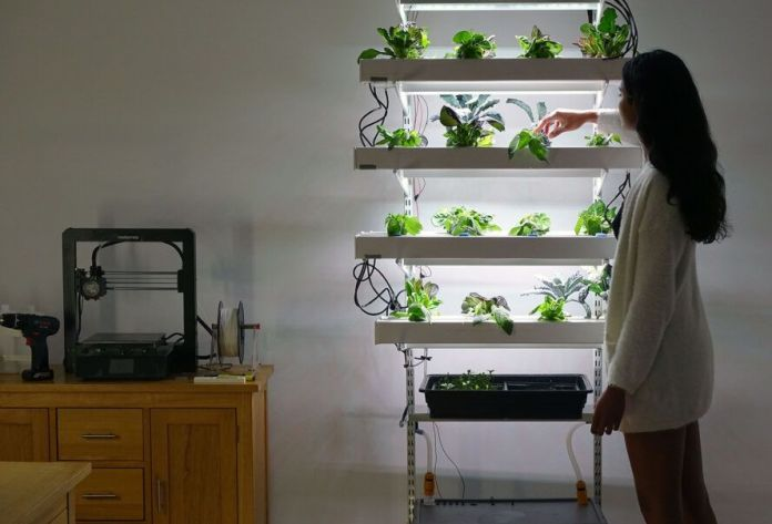 A HECTAR unit full of plants, with a person standing next to it on the right.