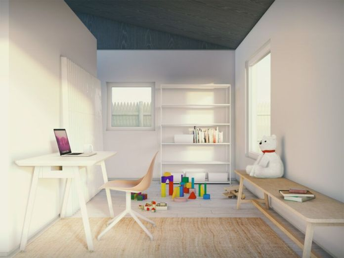 rendering of white office desk across from child's bench and toys